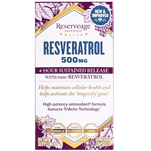 Reserveage - Resveratrol 500mg, Antioxidant Support for Cellular and Heart Health, 60 Capsules