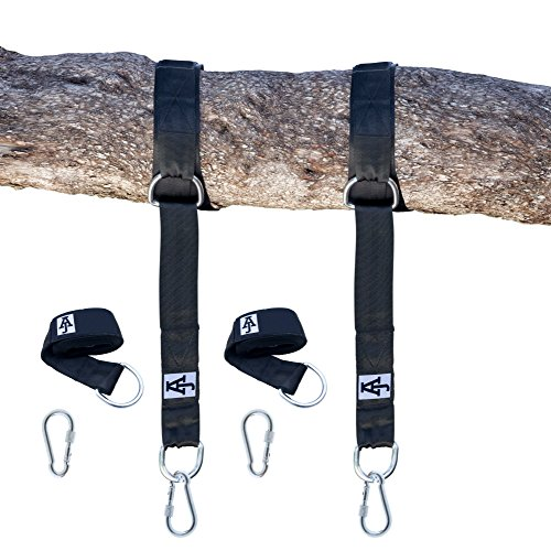 Tree Swing Hanging Kit Holds 2000lbs|10ft Extra Long Straps| Easy & Fast Swing Hanger Installation to Tree| 2 Strap & Carabiner Hooks| Perfect For Swings, Hammocks & Anything Else You Can Imagine| (Swing Chain Kit)