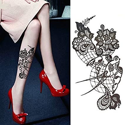 Sexy Lace Hot Black Sea Swallow Flor De Henna Tatuaje Temporal ...
