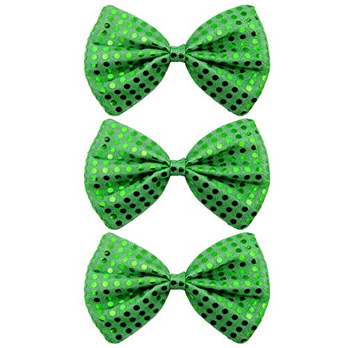 (RareLove 3 Pack St. Patrick's Day Sequin Green Adult Huge Bowtie Elastic Bow Fun Costume Accessories)