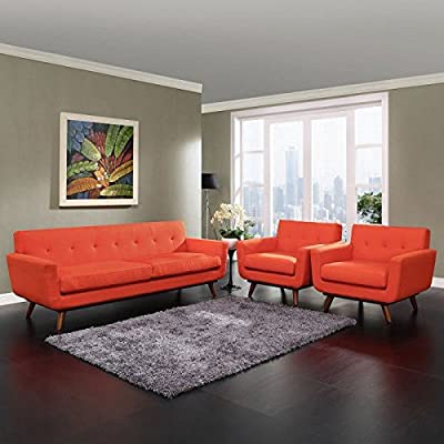 LexMod Engage 3 Piece Leather Living Room Set in Beige