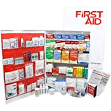 OSHA & ANSI 5 Shelf Industrial First Aid Cabinet with Pocket Liner, 200 Person, 1890 Pieces, 2015 Class A+, Types I & II, Made in USA
