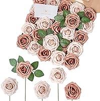 Breeze Talk Artificial Flowers Blush Roses Realistic Fake Roses w/Stem for DIY Wedding Bouquets Centerpieces Arrangements...
