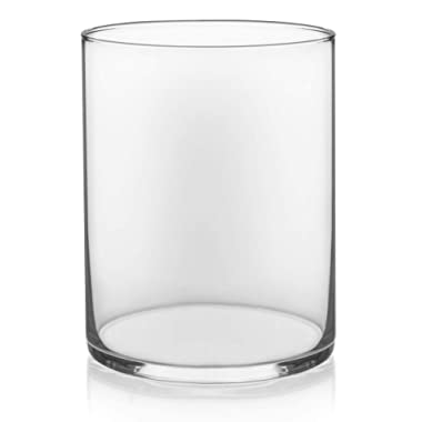 Floral Supply Online - 8  Tall x 5  Wide Cylinder Glass Vase for Weddings, Events, Decorating, Arrangements, Flowers, Office, or Home Decor.