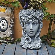 Sungmor Creative Head Planter Statue for Garden Ornaments   Premium Resin Flower Pot for Patio Lawn Garden Yar