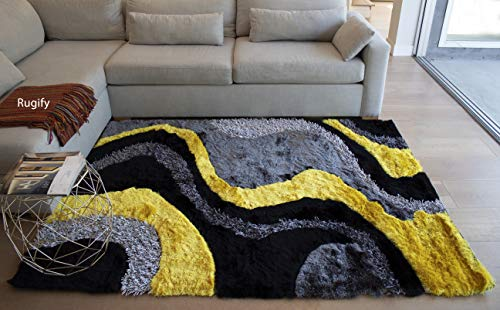 5'x7' Yellow Black Gray Grey 3D Shag Shaggy Area Rug Carpet Striped Woven Braided Hand Knotted Feizy Accent Fluffy Fuzzy Modern Contemporary Medium Pile Shimmer Soft Plush (Signature New 72 Yellow)