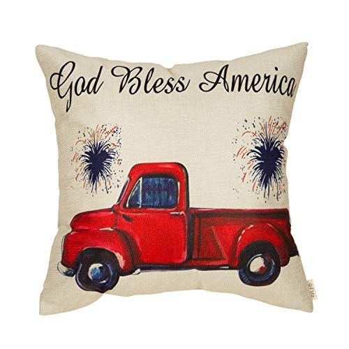 Fjfz 4th of July Decor God Bless America Vintage Red Truck Sign Patriotic Quote Decoration Cotton Linen Home Decorative Throw Pillow Case Cushion Cover for Sofa Couch, 18