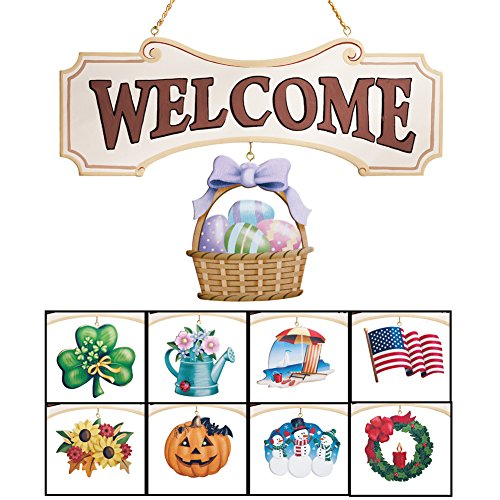 Collections Etc Seasonal Welcome Sign Decoration - 10 Piece Set