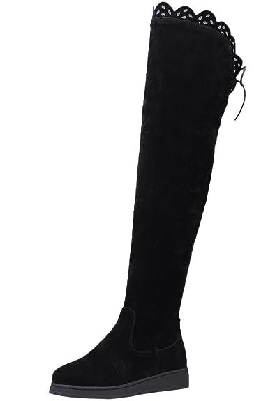 BIGTREE Overknee Stiefel Damen Casual Herbst Winter Blockabsatz Bequem über Knie Stiefel von Schwarz 38 EU VgmAf