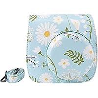 Elvam Blue Flower Floral PU Leather Fujifilm Instax Mini 9 / Mini 8 / Mini 8+ Instant Film Camera Case Bag w/ a Removable Bag Strap