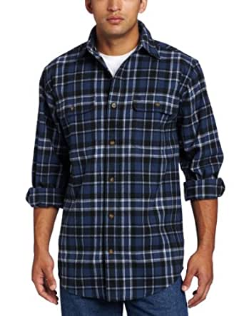 Carhartt Men's Hubbard Rain Defender Plaid Long Sleeve Shirt ,Dark Blue  (Closeout),XXX-Large Tall