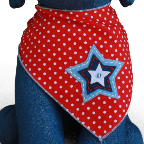 Tail Trends Dog Bandanas with Star Design for BBQ Beach Days Fits Medium to Large Sized Dogs- 100% Cotton
