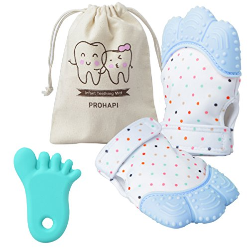 Prohapi Silicone Baby Teething Mitten, Self Soothing Teether & Teething Pain Relief Toy Glove Plus Hygienic Travel Storage Pouch - Natural Remedy for Infants & Toddlers 3-6 Months (Blue 2-Pack)