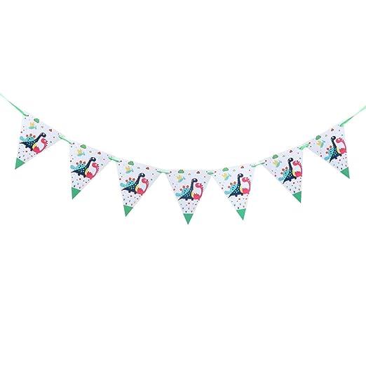 Amosfun Baby shower banner dinosaurio patrón triángulo ...