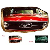 Startonight 3D Mural Wall Art Photo Decor Red Mustang Waiting Amazing Dual View Surprise Large 47.24 Inch By 86.61 Inch Wall Mural Wallpaper for Living Room or Bedroom Cars Collection Wall Art (Red)