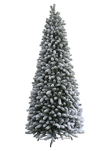 KING OF CHRISTMAS 7.5 Foot King Flock Slim Christmas Tree Unlit, 40