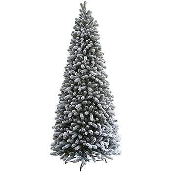 king of christmas 65 foot pre lit king flock slim christmas tree with 400 ul - White Slim Christmas Tree