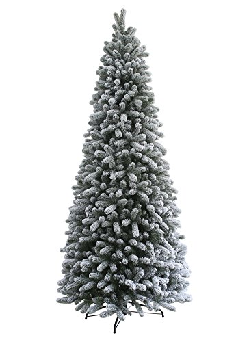 KING OF CHRISTMAS 7.5 Foot King Flock Slim Christmas Tree - Slim Christmas Trees