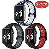 OriBear Compatible for Apple Watch Band 40mm 38mm, Breathable Sporty for iWatch Bands Series 4/3/2/1, Watch Nike+, Various Styles and Colors for Women and Men(S/M,3 Pack A)