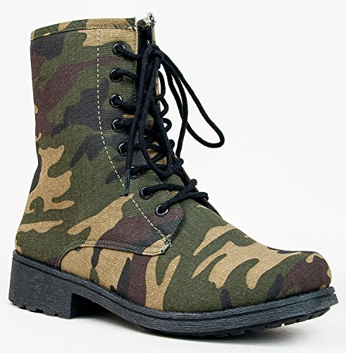 Qupid MISSILE-04 / SOURCE-03X Mock Dr. Martens Inspired Lace Up 1460 Style Combat Boot