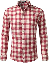 "<span class=""a-offscreen"">[Sponsored]</span>Mens Hipster Plaid Slim Fit Long Sleeve Button Down Dress Shirt/Checkered Tops"