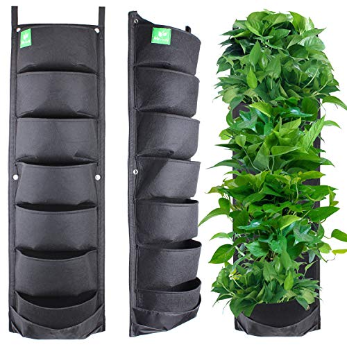 (Meiwo New Upgraded Deeper and Bigger 7 Pocket Hanging Vertical Garden Wall Planter for Yard Garden Home Decoration)