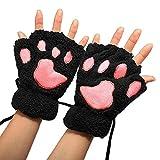 Women Cat Claw Mittens Bear Plush Paw Winter Gloves