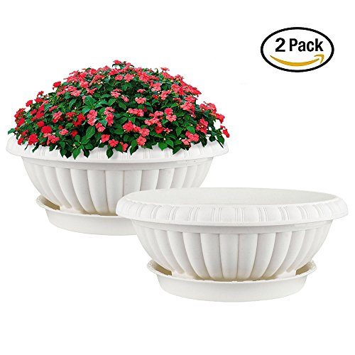 Mkono 2 Pack Plastic Planter Bowl 12 Inches Plant Pots with Saucers, Beige