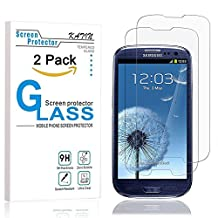 Galaxy S3 Screen Protector - KATIN [2-Pack] Samsung Galaxy S3 III i9300 Premium 9H Tempered Glass 2.5D Round Edge , 3D Touch Compatible with Lifetime Replacement Warranty