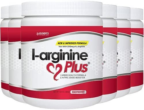 L-Arginine Plus Raspberry 6-Pack – 1 Natural Blood Pressure Supplement, Better Cholesterol, More Energy – Heart Health Supplement 13.4 oz