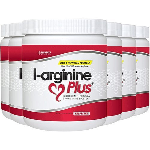 L-Arginine Plus Raspberry 6-Pack - #1 Natural Blood Pressure Supplement, Better Cholesterol, More Energy - Heart Health Supplement 13.4 oz