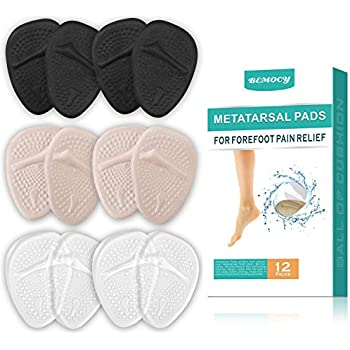 (12PCS) Ball of Foot Cushions, Metatarsal Pads/Cushion, Soft Gel Insole Pads High Heel Inserts Reusable Forefoot Cushions Best for Mortons Neuroma and Metatarsal Foot Pain Relief for Men and Women