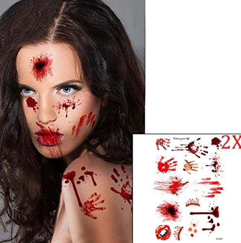 HOT 1pc Waterproof Bloody Scars Tattoo Halloween Horror Terror Wound Scary Blood Injury Stickers]()