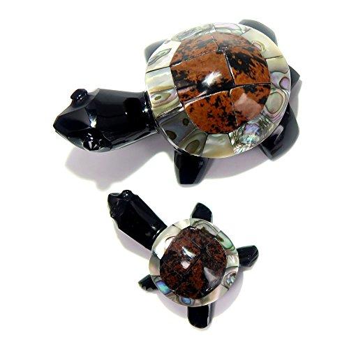 - SatinCrystals Obsidian Animal Turtle Set Premium Mother Child Mahogany Abalone Shell Gemstone Pair P01z