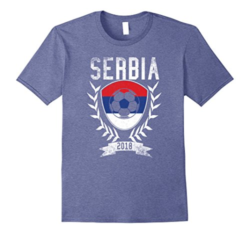 Serbia World Cup (Mens Serbian Football Cup 2018 T-Shirt - Serbia Soccer Jersey XL Heather Blue)