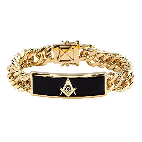 Palm Beach Jewelry Men's Genuine Black Onyx 14k Gold-Plated Masonic Curb-Link Bracelet 8