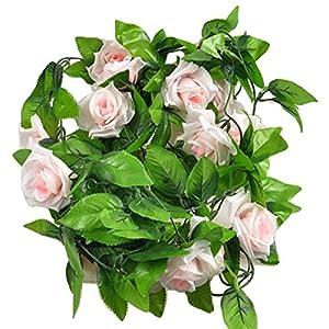 ESTD Artificial Fake Silk Rose Flower Vine Hanging Ivy Garland Home Decor ( Light Pink ) 91