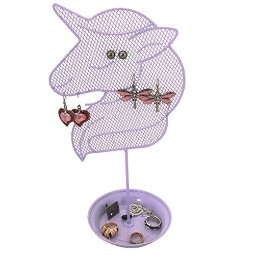 Bucasi Cute Unicorn Jewelry Organizer - Teen Earring and Ring Stand - Girls Gift IDEA (Purple)