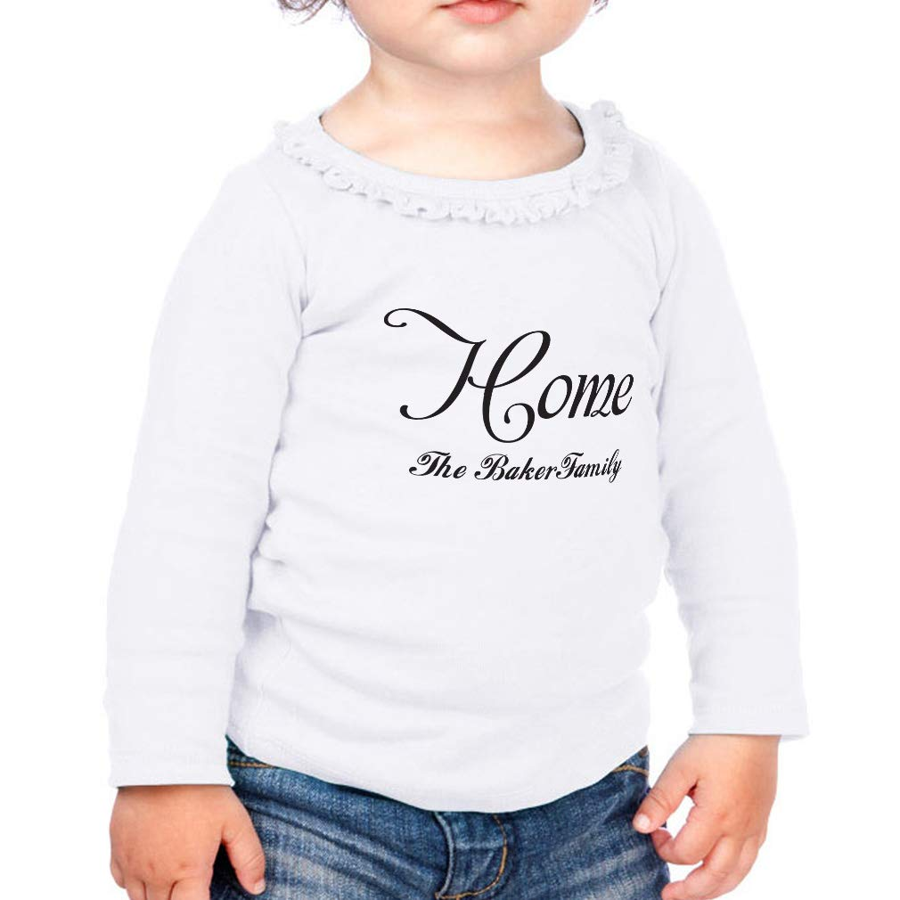 Personalized Custom Home Family Cotton Toddler Long Sleeve Ruffle Shirt Top