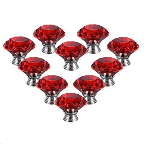 UPC 532009784624, iPerb® 10PCS Crystal Glass Diamond Shape Cabinet Knob Cupboard Drawer Pull Handle (red, 40 mm)