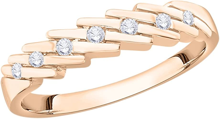Size-7 1//10 cttw, G-H,I2-I3 Diamond Wedding Band in 14K Pink Gold