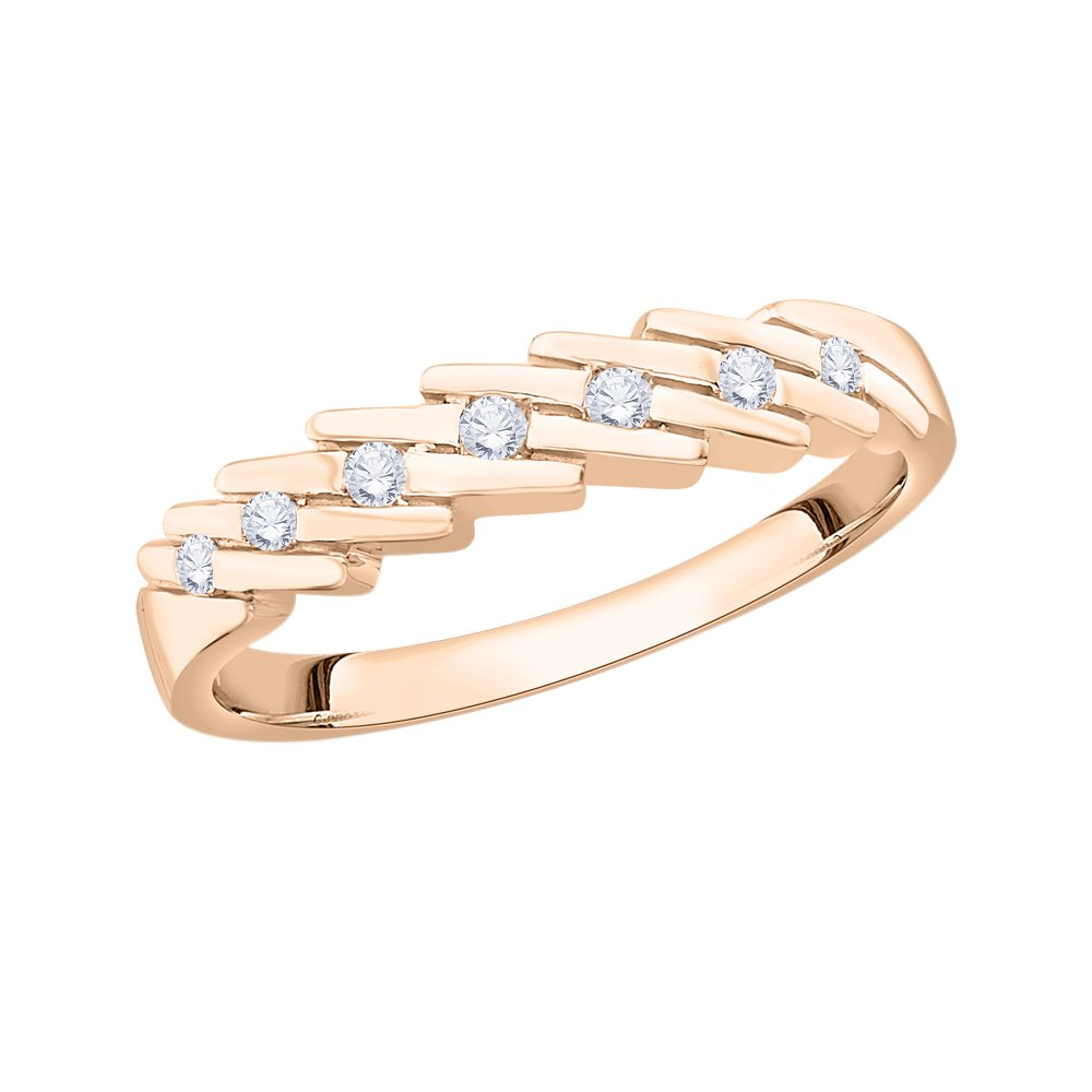 Diamond Wedding Band in 10K Pink Gold Size-3.75 G-H,I2-I3 1//10 cttw,
