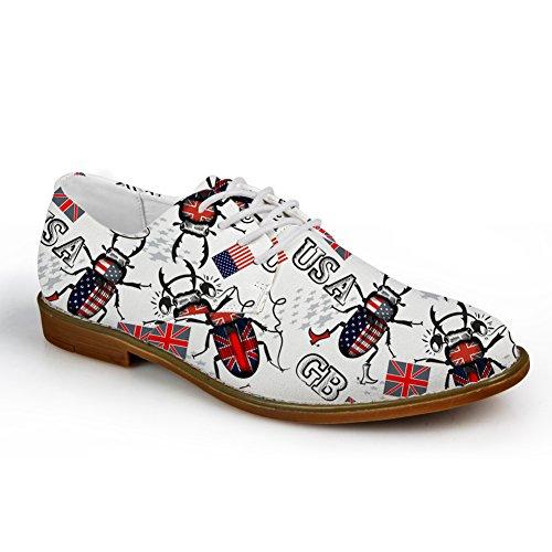 HUGS IDEA HUGSIDEA Flags Pattern Vintage Mens Oxford Flats Lace Up Shoes Leaf 6 lP6ve