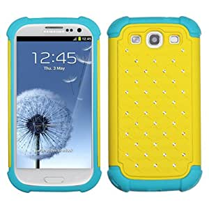 ASMYNA Yellow/Tropical Teal Luxurious Lattice Dazzling TotalDefense Protector Cover for SAMSUNG Galaxy S III (i747/L710/T999/i535/R530/i9300)