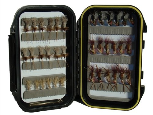 Wild Water Caddis Fly Assortment, 36 Flies with Small Fly Box