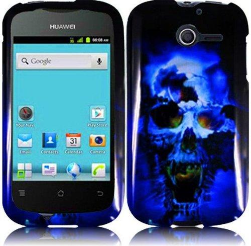 LF Blue Skull Designer Hard Case Proctor Cover, Lf Stylus Pen and Screen Wiper Bundle Accessory for StraightTalk Huawei Ascend Y M866