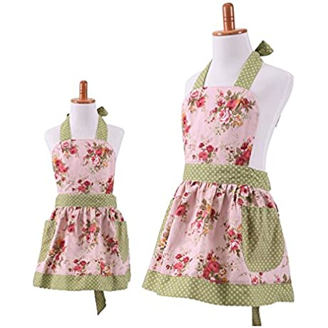 G2PLUS Lovely Classic Style Pink Floral Parent Child Apron Women S Cooking Or Baking Apron With 2 Pockets Mama Kid Girl Apron Great Gift For Wife Daughters Ladies