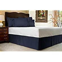 "Genuine 600 TC Egyptian Cotton Finest Yarn Split Corner Bed Skirt 17"" Drop Cal-King Navy Blue Stripe"