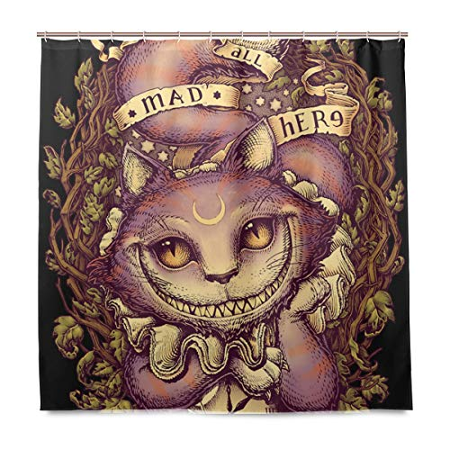 NewSmarter Cheshire Cat Halloween Decorations Shower Curtains Set,Mildew Proof and Waterproof Washable Printed Polyester Fabric Shower Curtain for Bathroom,72 x 72 Inch for $<!--$25.99-->