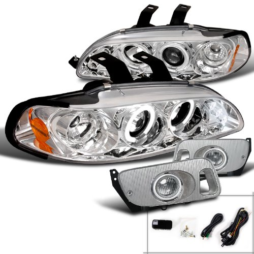 Honda Civic 2/3Dr Chrome Halo LED Projector Headlights+Clear Fog (1992 Honda Civic Si Hatchback)